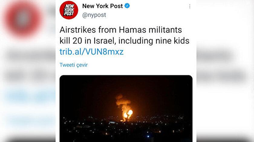 New York Post algılarla oynuyor: İsrailin 20 kişiyi katletmesini Hamas yapmış gibi gösterdi!