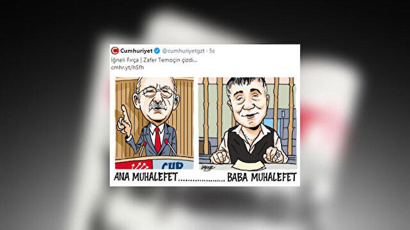 Cumhuriyet gazetesi CHP Genel Başkanı Kılıçdaroğlu ve suç örgütü lideri Pekeri bir tuttuğu karikatürü sildi
