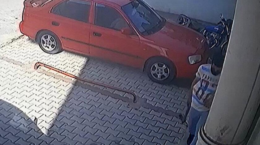 Motosikleti çalmadan önce güvenlik kamerasının açısını keserle değiştirdi