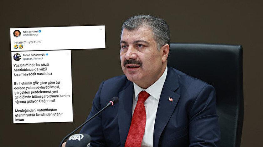 Sağlık Bakanı Fahrettin Kocadan Fatih Portakal ve Canan Kaftancıoğluna aşı göndermesi: Umarız bugünlerde sık sık güneşe çıkıyorlar