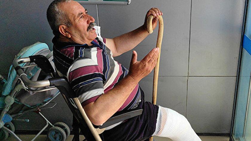 Üzerine inek düştü: Bacağı diz üstünden kırıldı