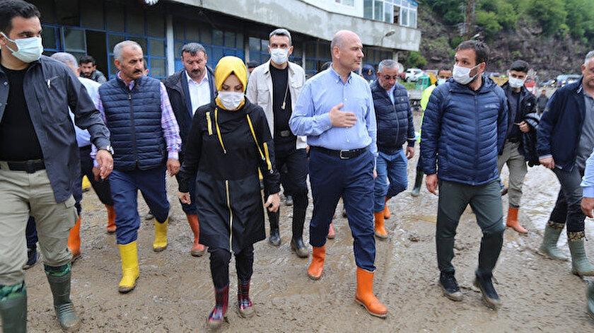 Artvin haber... İçişleri Bakanı Süleyman Soylu afet bölgesinde