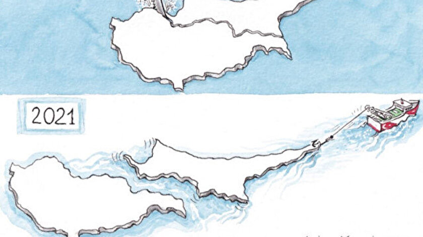 Yunan basınından Kıbrıs adası karikatürü: KKTCnin Türkiye tarafından kopartılıyor