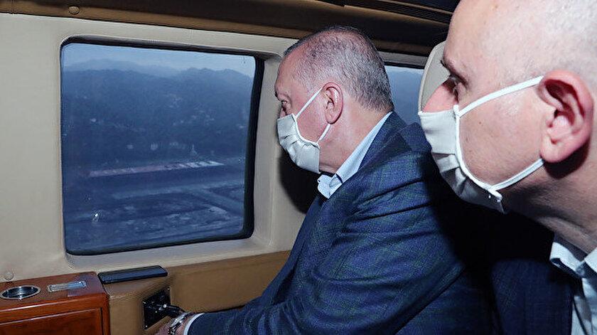 Rize haber: Cumhurbaşkanı Erdoğan, Rize-Artvin Havalimanını havadan inceledi