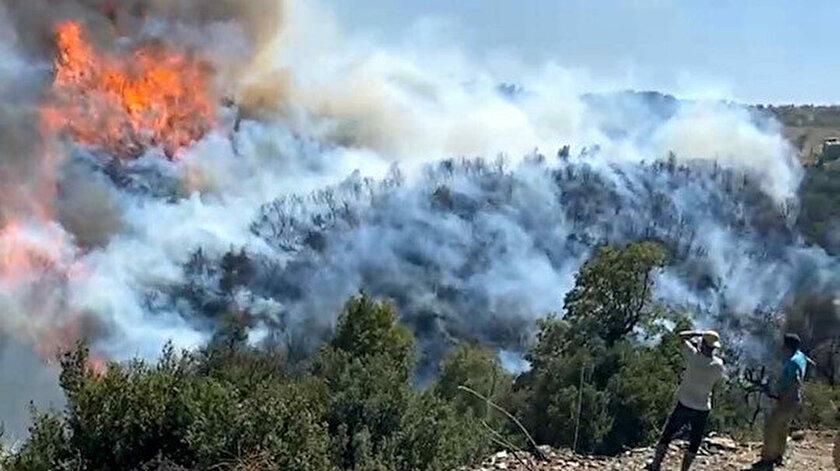 Aydındaki yangın Muğlaya sıçradı: Ekipler bölgeye ulaşmakta güçlük çekti