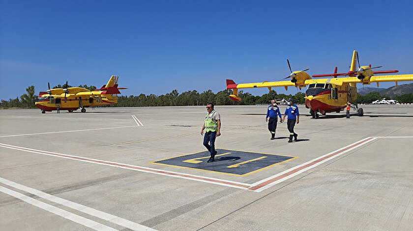 Dost ülkeler Türkiyedeki yangınlar için seferber oldu: İspanyanın destek uçakları Dalamanda