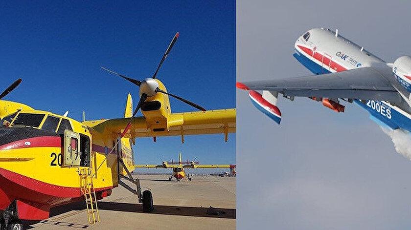 Filosunda THKdaki CL-215 tipi yangın söndürme uçağı olan Yunanistan Rusyadan BE-200 getirtti