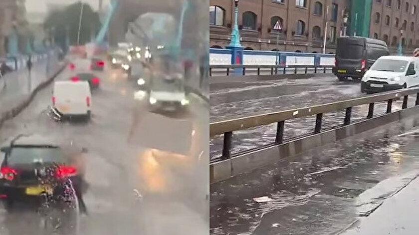 Londra'daki Tower Bridge Köprüsünü su bastı