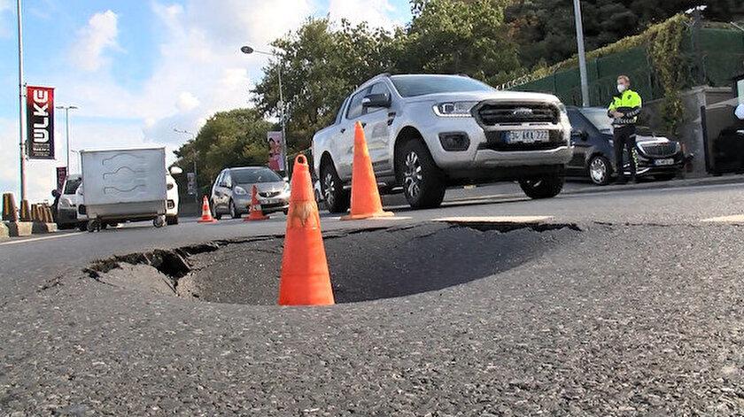 Sarıyer Haydar Aliyev Caddesinde yol çöktü