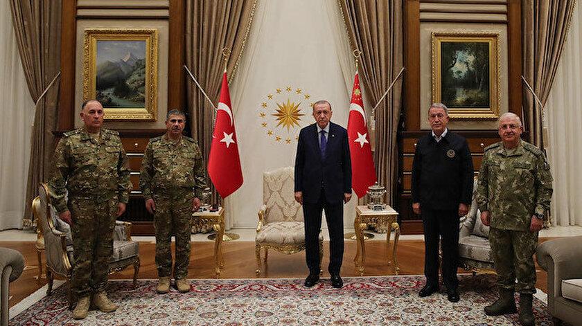 Cumhurbaşkanı Erdoğan Azerbaycan Savunma Bakanı ve Genelkurmay Başkanını ağırladı