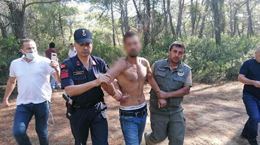 Manavgatta ormanı yakmaya çalışırken suçüstü yakalandı