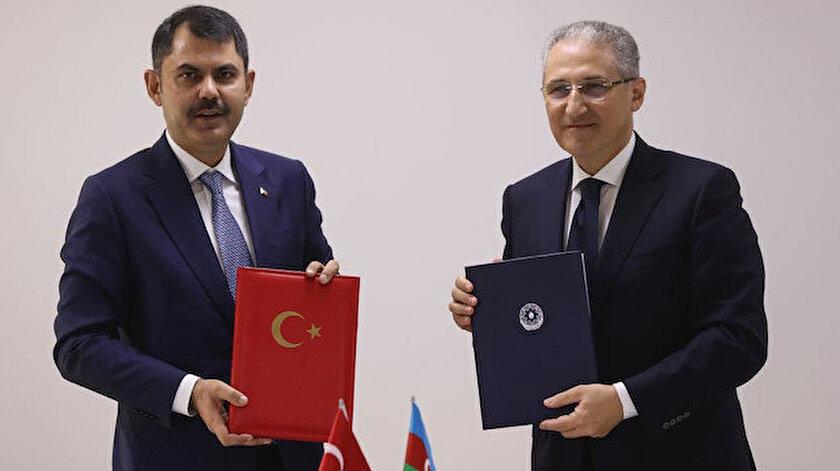 Bakan Kurum Azerbaycanda: Çevre koruma alanında çalışma programı için imzalar atıldı