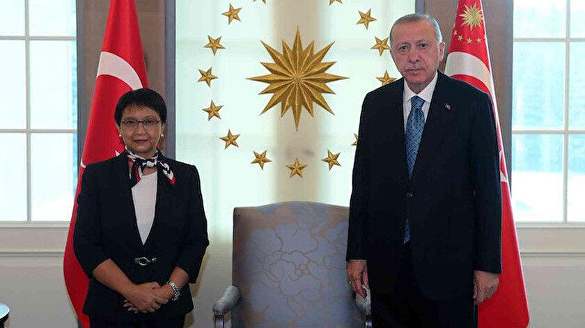 Cumhurbaşkanı Erdoğan Endonezya Dışişleri Bakanını kabul etti