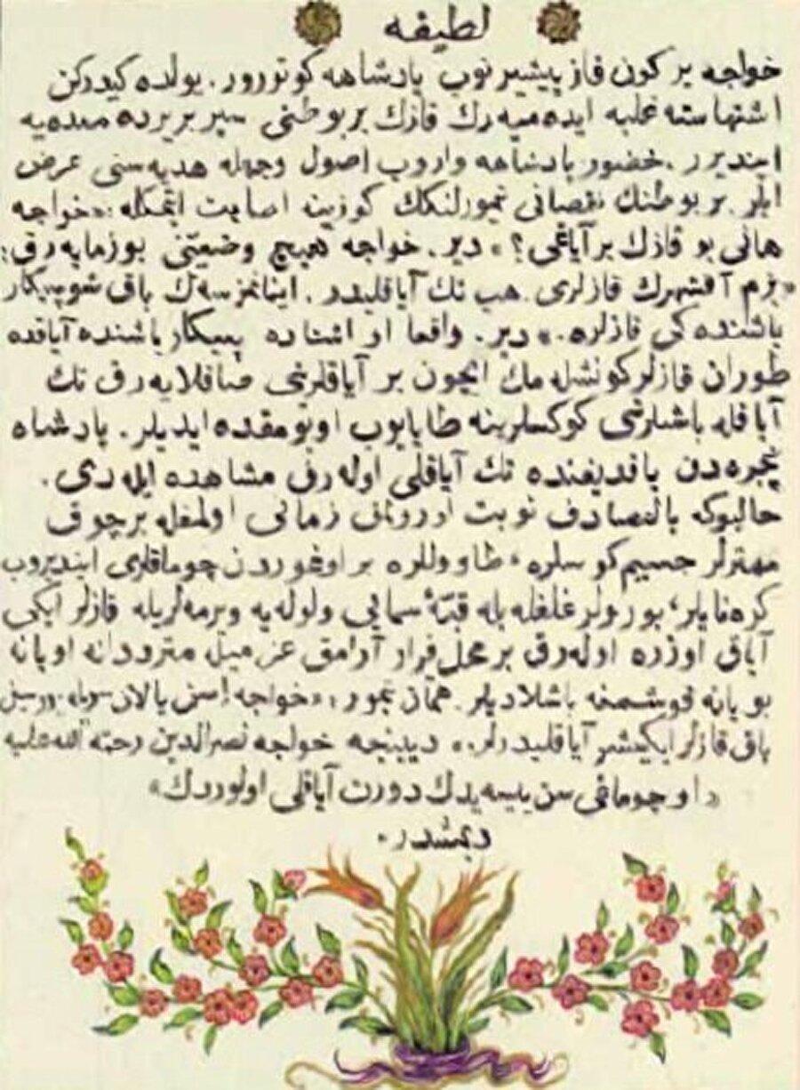 Latife deyince... Mizahın ustası Hoca Nasreddin'in kıvrak zekasıyla oluşmuş fıkralara bir örnek.
