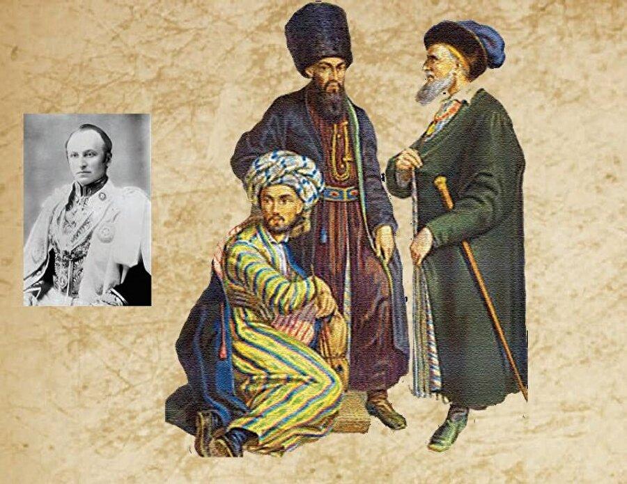 Binbir Gece Masalları gibi… İngiliz siyasetçi Lord Curzon (üstte solda), Türkistan çöllerini ve vahalarını Binbir Gece Masalları'na benzetmiş ve demiryolu inşasının tarihi değiştireceğini söylemişti. Karşı sayfada Türkistan demiryolu haritası, solda ise Buharalı, Hiveli ve Tatar tiplemeler bir arada görülmekte.