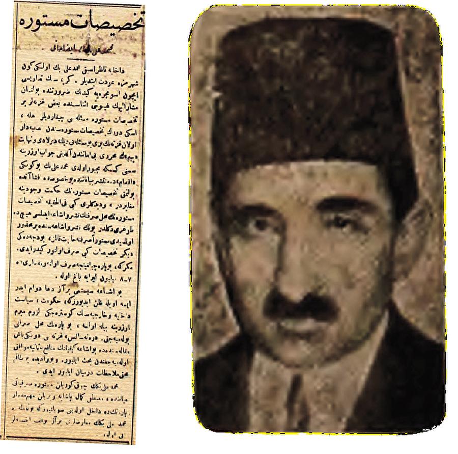 Örtülü ödenek Mehmed Ali Bey'in Mustafa Kemal Paşa'ya örtülü ödenekten verdiği para ile ilgili olarak 19 Eylül 1919 tarihli Akvâm gazetesinde yer alan haber.