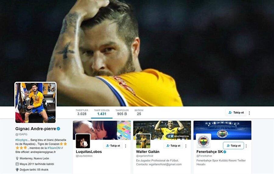 Andre-Pierre Gignac sosyal medyadan Fenerbahçe'yi takip ediyor.