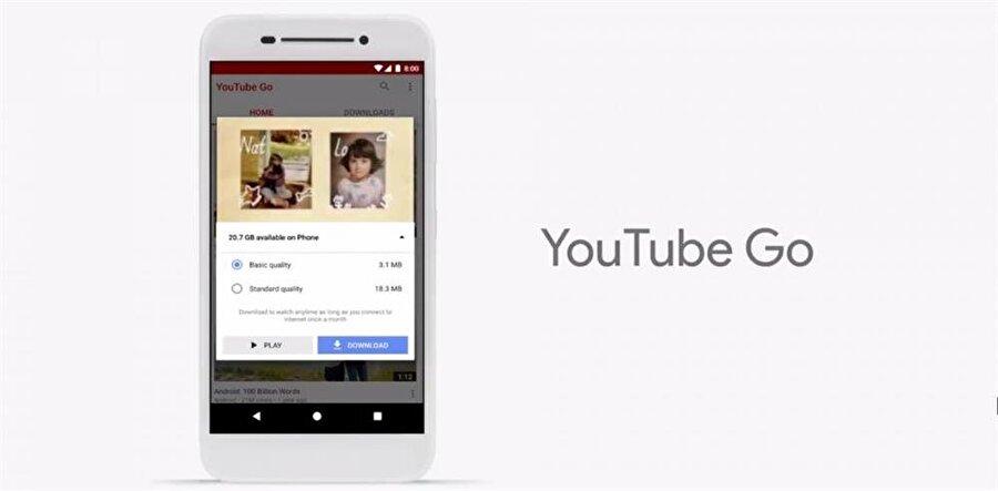 Android Go ekseninde özel uygulamalar da yer alacak. Bunlardan en önemlisi ve kullanıcıların en çok ihtiyaç duyacaklarından biri ise YouTube Go. Yeni yeni uygulama vasıtasıyla YouTube'da videolar çevrimdışı olarak da izlenebilecek.