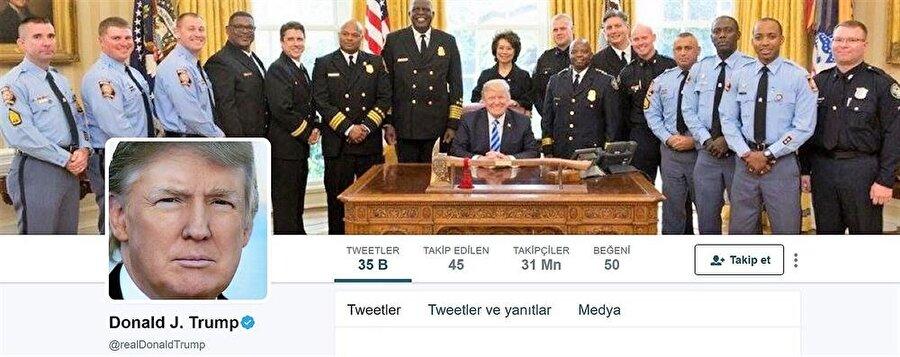 Donald Trump'ın @realDonaldTrump uzantılı Twitter profili. ABD Başkanı'nın an itibariyle 31 milyonu aşkın takipçisi var.