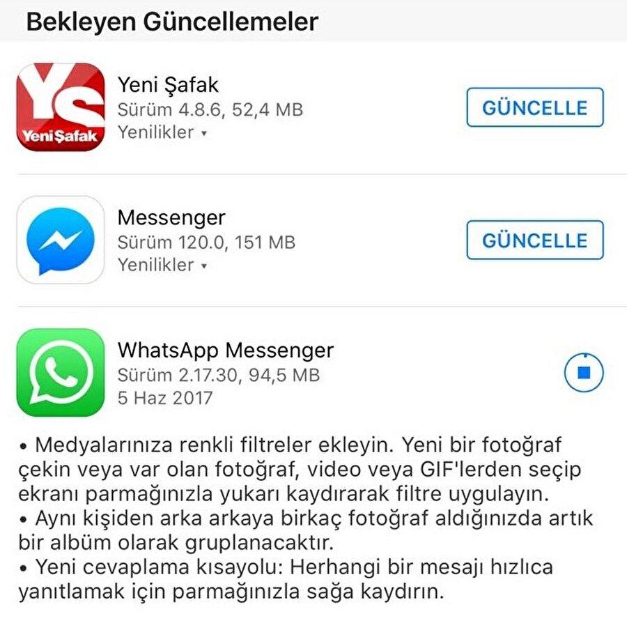 WhatsApp'ın yeni sürümünü yüklemek için hem Google Play hem de App Store'a erişip, uygulamayı güncelle düğmesine tıklamanız yeterli. 94 MB boyutundaki bu güncelleştirmeyi kablosuz bağlantı üzerinden indirmekte yarar var.