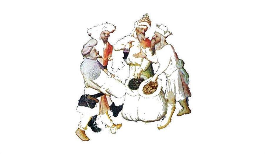 Doğu'dan baharat getiren Avrupalı tüccarlar.