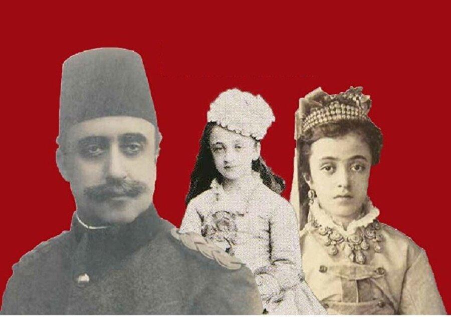 Sultan Abdülaziz'in çocukları, Yusuf İzzeddin Efendi, Nazime Sultan ve Saliha Sultan (soldan sağa).