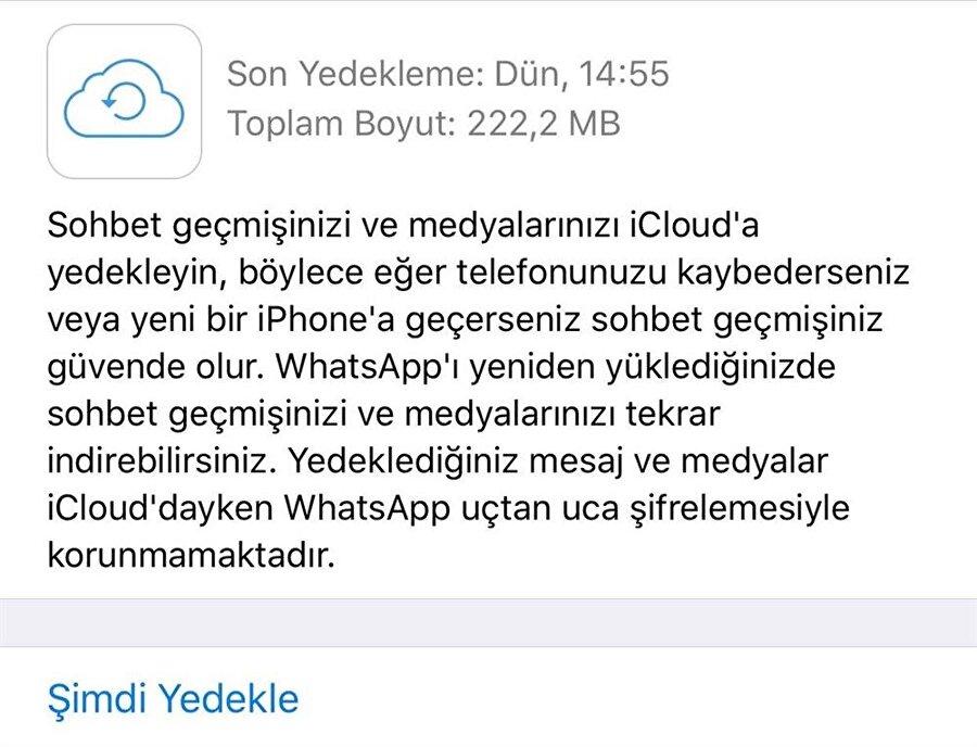 iPhone'lar için tasarlanan WhatsApp uygulamasında en sn mesajları geri getirebilmek için öncelikle yeni bir sohbet yedeği almakta yarar var.