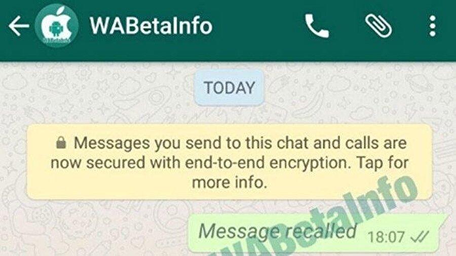 WhatsApp'ın hem Android hem de iOS mobil uygulamaları için tasarlanan bu özellik, hatayla gönderilen mesajların kullanıcılar tarafından kısa süre içinde karşı taraf okumadan geri alınmasını sağlıyor.