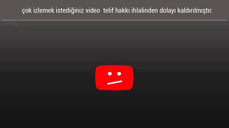 YouTube'da bir video, 'telif' problemi yaşadığında böyle bir ekran kullanıcılarla buluşuyor.