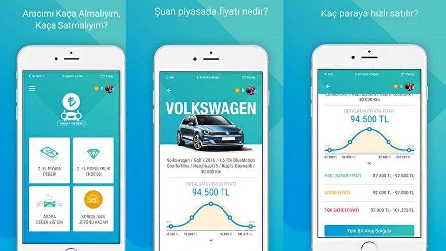 """Araba Değeri mobil uygulaması üzerinde ana menüde """"2.el piyasa değeri"""", """"2.el popülerlik endeksi"""", """"araba değer listem"""" ve """"sorgulama jetonu kazan"""" gibi dört farklı seçenek yer alıyor."""