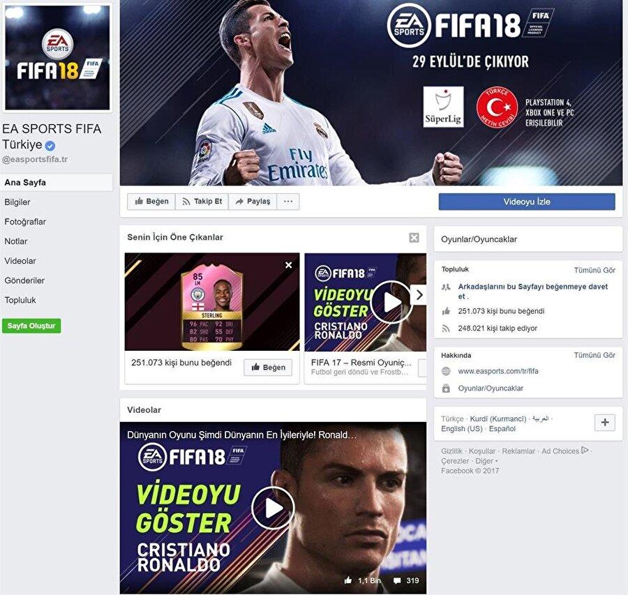 FIFA 18'in resmi Facebook sayfasından alınmış bir görseldir.