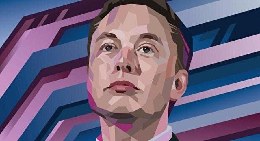 Elon Musk illüstrasyonu.