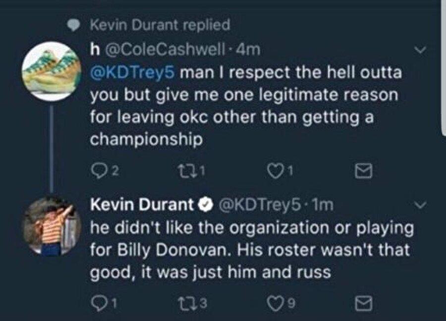 İşte Durant'in şaşırtan o tweeti