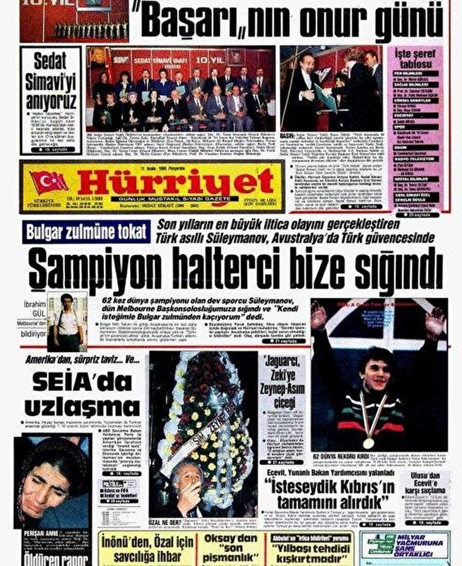 Naim Süleymanoğlu: Ben Türküm. İsmimi değiştirmek istemeleri bardağı taşıran son damla oldu.