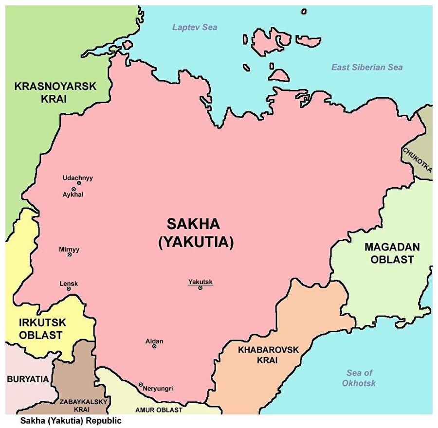 Başkent: Yakutsk Nüfus: 958,528 Yüzölçüm: 3.103.200 km² Dil: Yakutça Din: Şamanizm