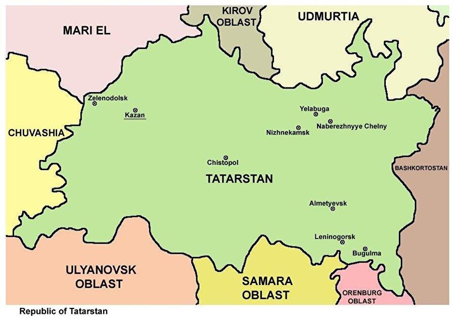 Başkent: Kazan Nüfus: 3,786,488 Yüzölçümü: 67.836 km² Kuruluş: 30 Ağustos 1990 Dil: Tatarca Din: İslamiyet