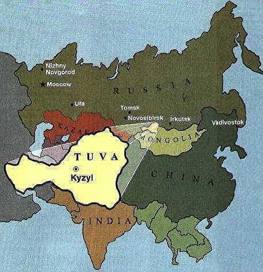 Başkent: Kızıl Nüfus: 308.557 Yüzölçüm: 170.000 km² Dil: Tuva Türkçesi Din: Şamanizm (Gök-Tanrıcılık) Kuruluş: 1993