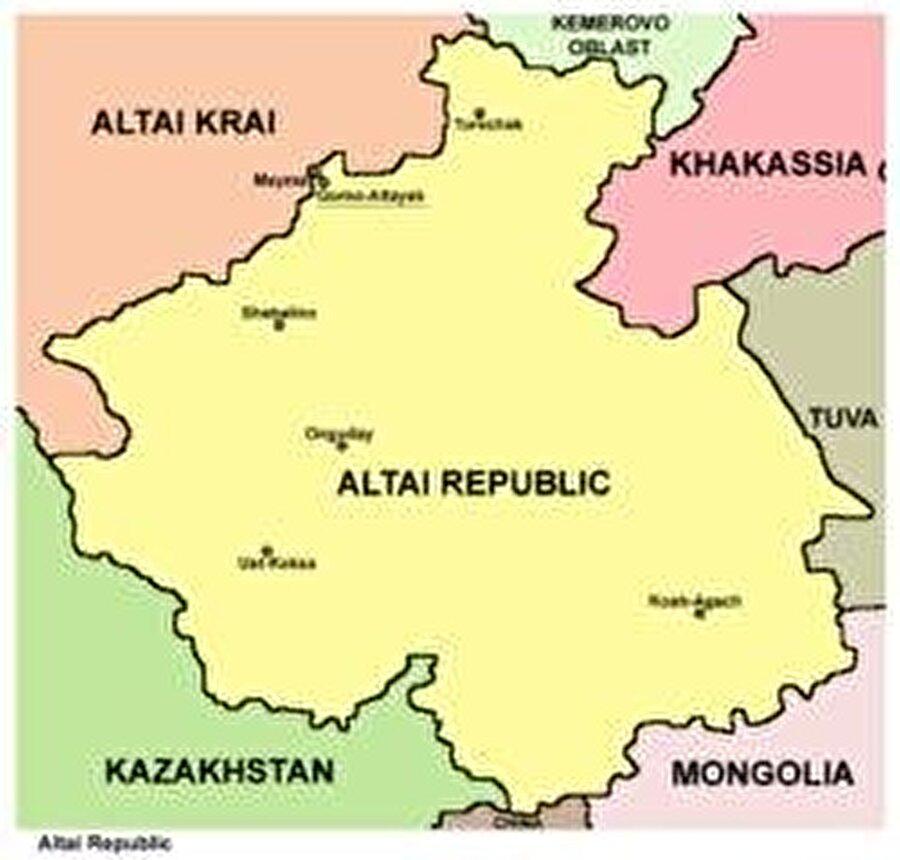 Başkent: Tuulu-Altay Nüfus: 209.207 Yüzölçüm: 92.600 km² Dil: Altayca Din: Şamanizm Kuruluş: 3 Temmuz 1991