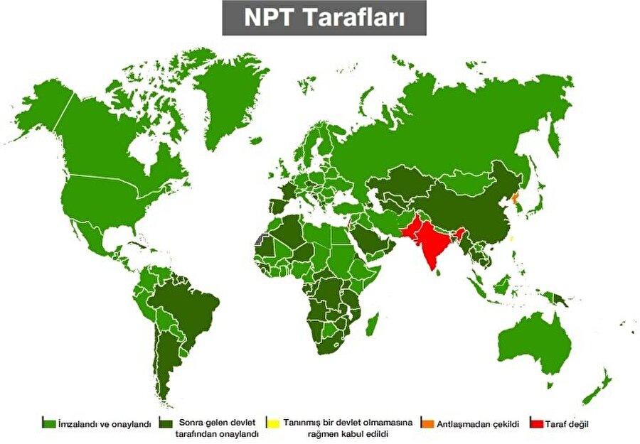 NPT anlaşmasına taraf olan ve anlaşmayı imzalamayan ülkelerin haritası. (Harita: Al Jazeera)