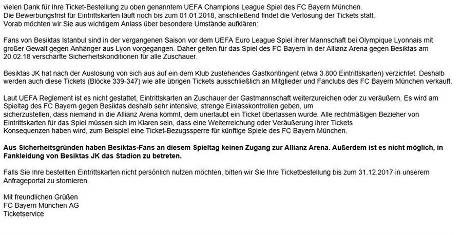 Bayern Münih kulübünden atılan mail