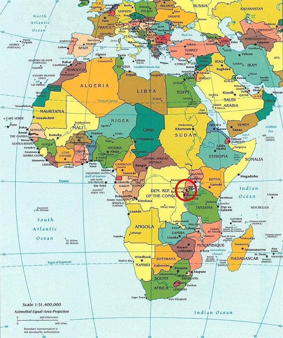 Afrika haritası üzerinde Ruanda'nın konumu.