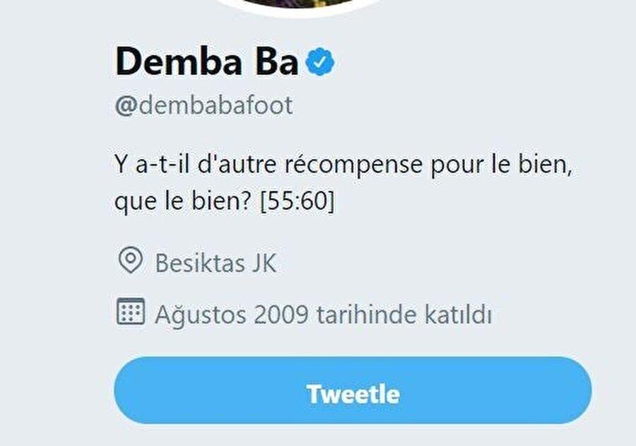 Demba Ba sosyal medya hesabındaki konumunu değiştirdi.