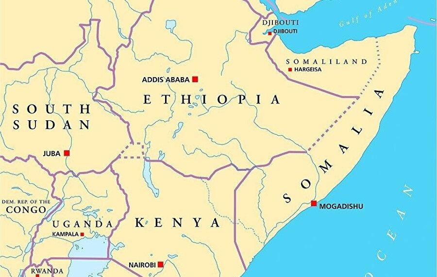 Somali ve Somaliland haritası.
