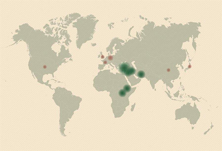 Sığınmacıların bulundukları yeri gösteren harita.