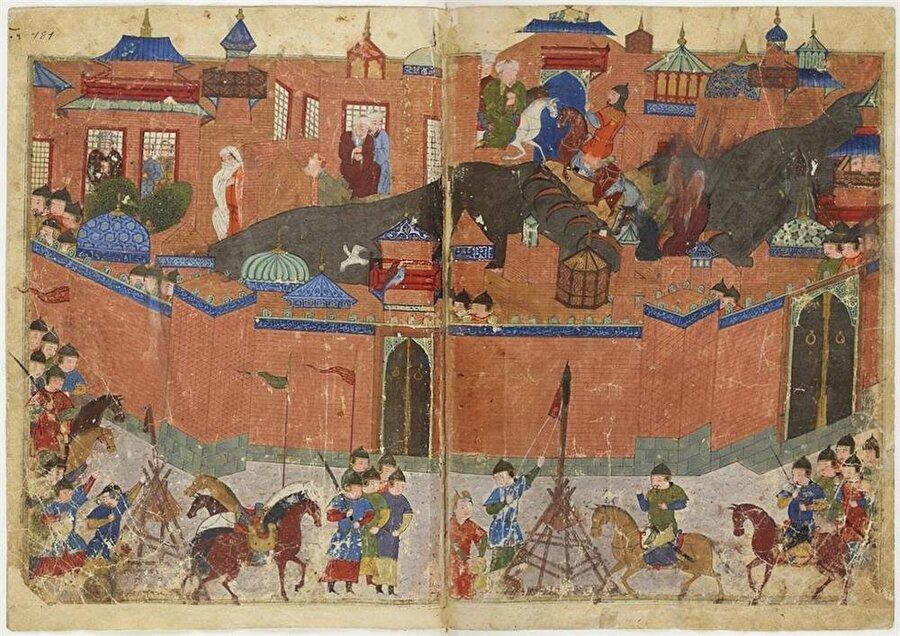 Bağdat'ın 1258 yılında Moğollar tarafından yağmalanışının tasvir edildiği bir minyatür.