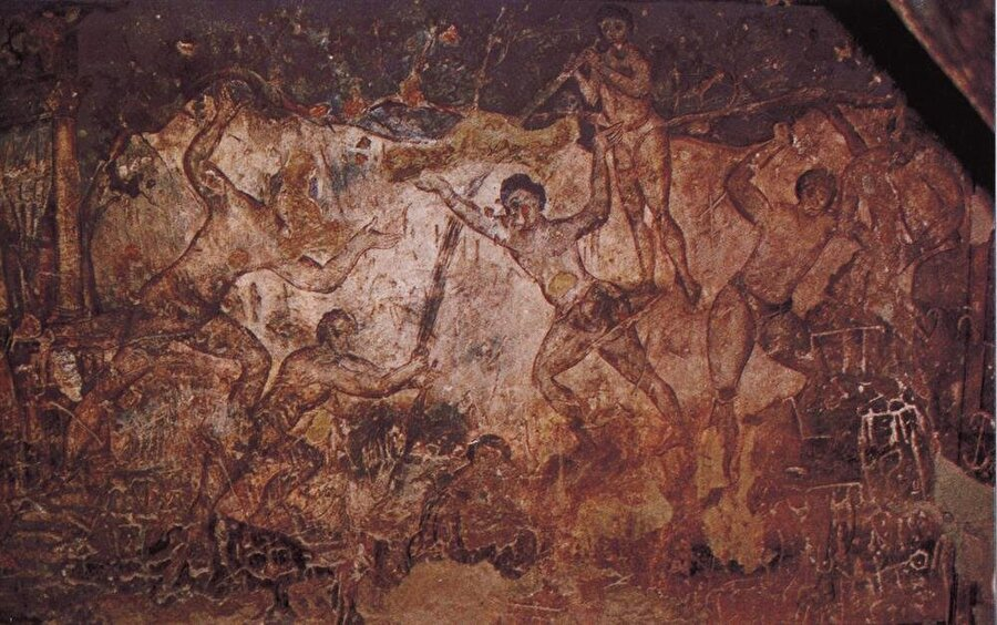 Kuseyr Amra'nın duvarlarında farklı resim ve mozaikler bulunuyor.
