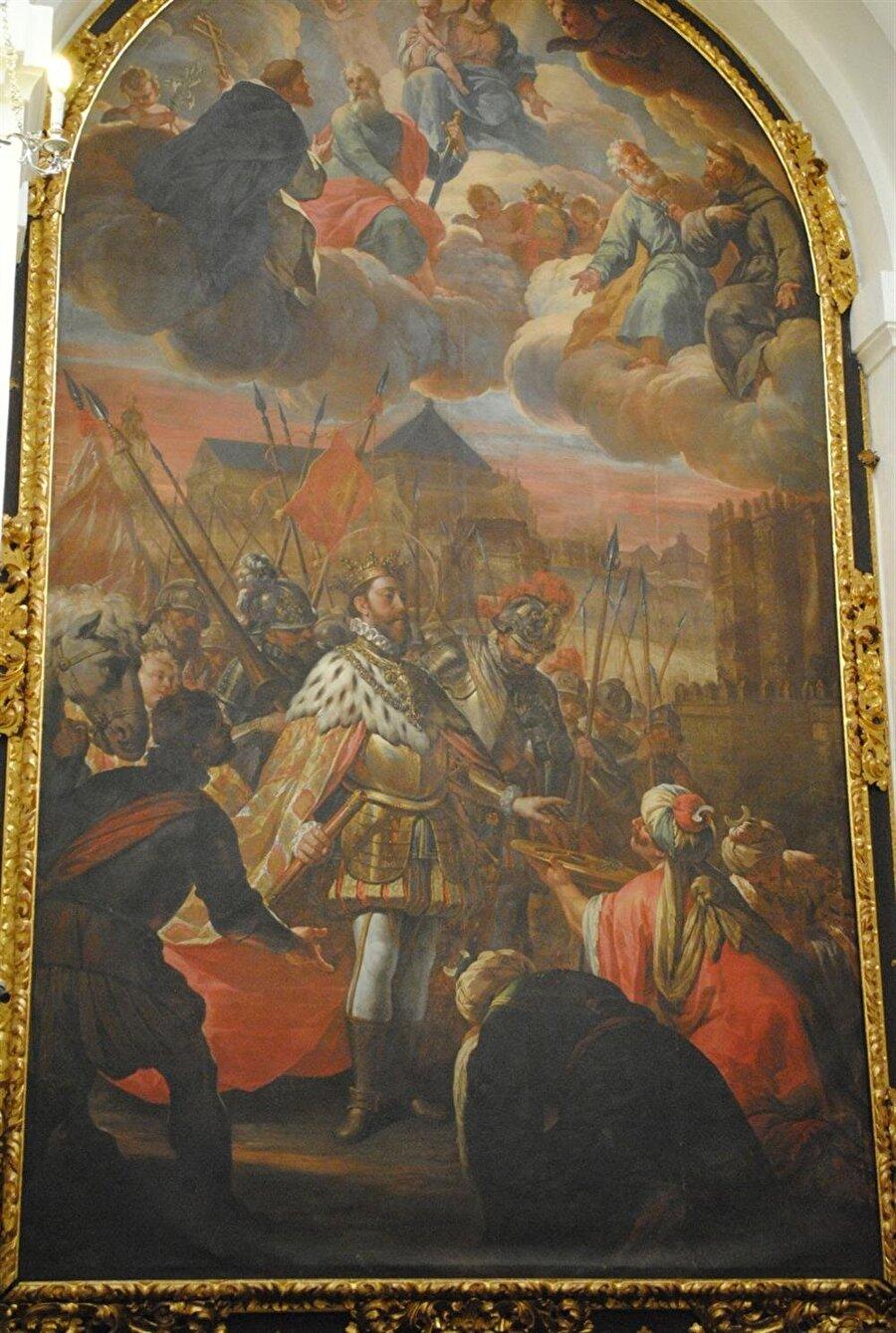 Tabloda, şehrin anahtarlarının Emeviler tarafından Aragon prensi Ferdinand'a teslim edildiği görülüyor.