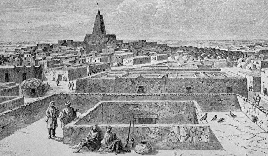 Timbuktu'nun şaşalı günlerini tasvir eden bir çizim.
