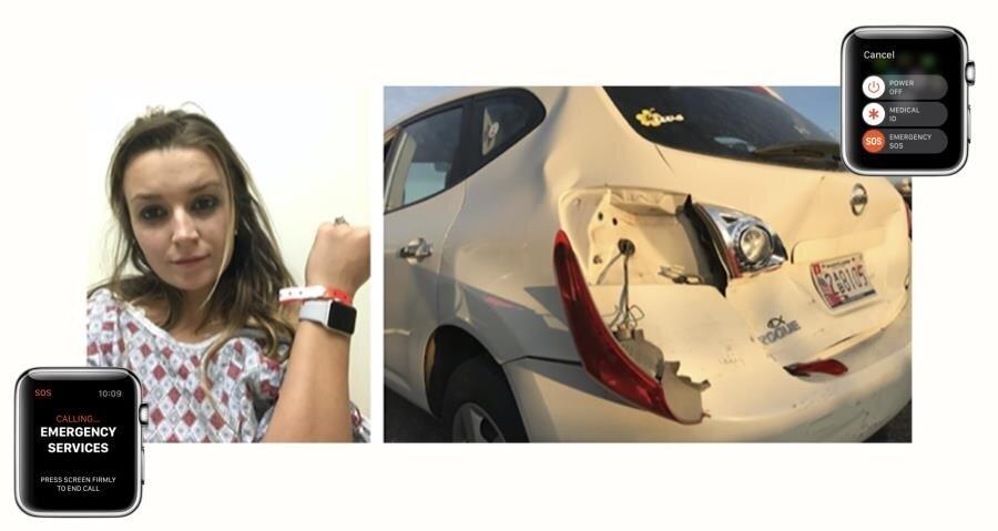 Genç kadının son anda kurtulduğu kazadan sonra otomobilin görüntüleri de şiddetli çarpışmayı gözler önüne seriyor.