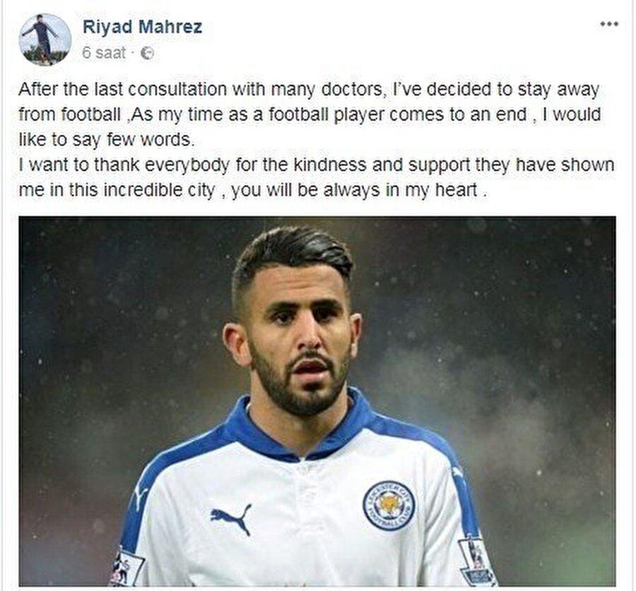 Mahrez'in Facebook hesabından yapılan açıklama